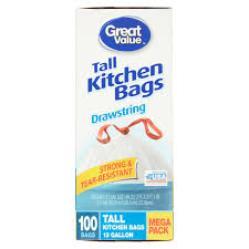 Christmas Tree Trash Bags Walmart by Great Value Tall Kitchen Bags 13 Gallon Drawstring Mega Pack 100