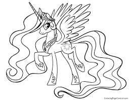 Beautifull My Little Pony Coloring Pages Princess Celestia In A Dress To Color