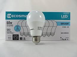 ecosmart 8 pack a19 60 watt equivalent daylight 5000k led