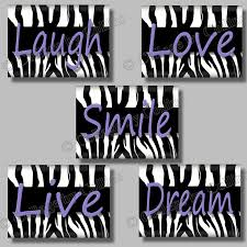 Purple Zebra Print Quote Smile Dream Live Love Laugh Art Girl Room Wall Decor Pictures Photos UNFRAMED Animal Dorm Bedroom Bath Bathroom