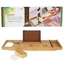 Bathtub Caddy With Reading Rack by Amazon Com Pristine Bamboo Luxury Bathtub Caddy With 12 In 1