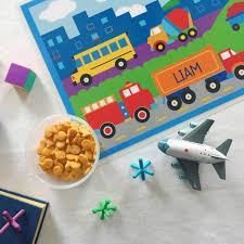 100 Kidds Trucks Trains Planes Personalized Kids Placemat Art Appeel