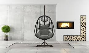 hängesessel aus polyrattan mit gestell eleganz 900x720x1200 mm schwarz