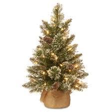 2 Ft Glittery Bristle Pine Burlap LED Pre Lit Full Christmas Tree Green