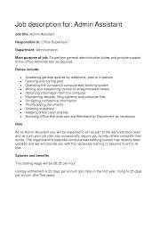 Administrative Assistant Job Description Office Sample Samplebusinessresume