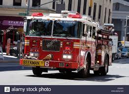 A New York City Fire Department Truck Responds To An Emergency Call ...