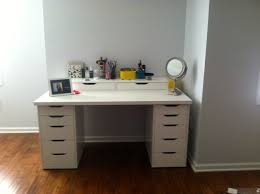 Bath Vanities With Dressing Table by White Stained Wooden Makeup Table With Single Drawer And Three
