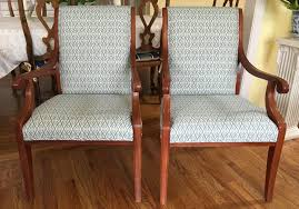 Pair Of Hickory Desk/Accent Chairs In Teal And Cream Woven Fabric - Totally  Refurbished - Shipping Rates Vary
