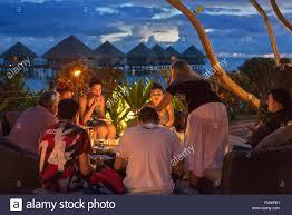 dinner at le meridien hotel on the island of tahiti stock