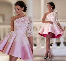 baby pink one shoulder homecoming dresses lace decor half sleeve