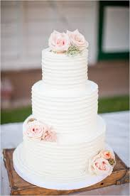Rustic Wedding Cakes Amusing Three Tiered White Cake With Pink Rose