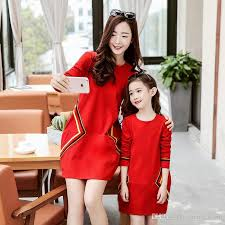 Korean Spring 2017 Family Dresses Clothing Mother And Daughter Long Sleeve Mum Girl Dress Casual Party Dressy Black Red A6040 Sibling Matching Easter
