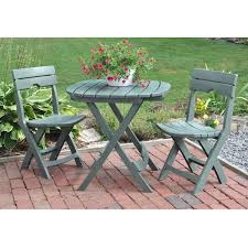 Adams Resin Adirondack Chairs by 3 Piece Fast Fold Outdoor Furniture Bistro Set In Sage Green