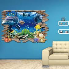 chambre dauphin chambre dortoir décoration sticker mural dauphin marin 3d monde