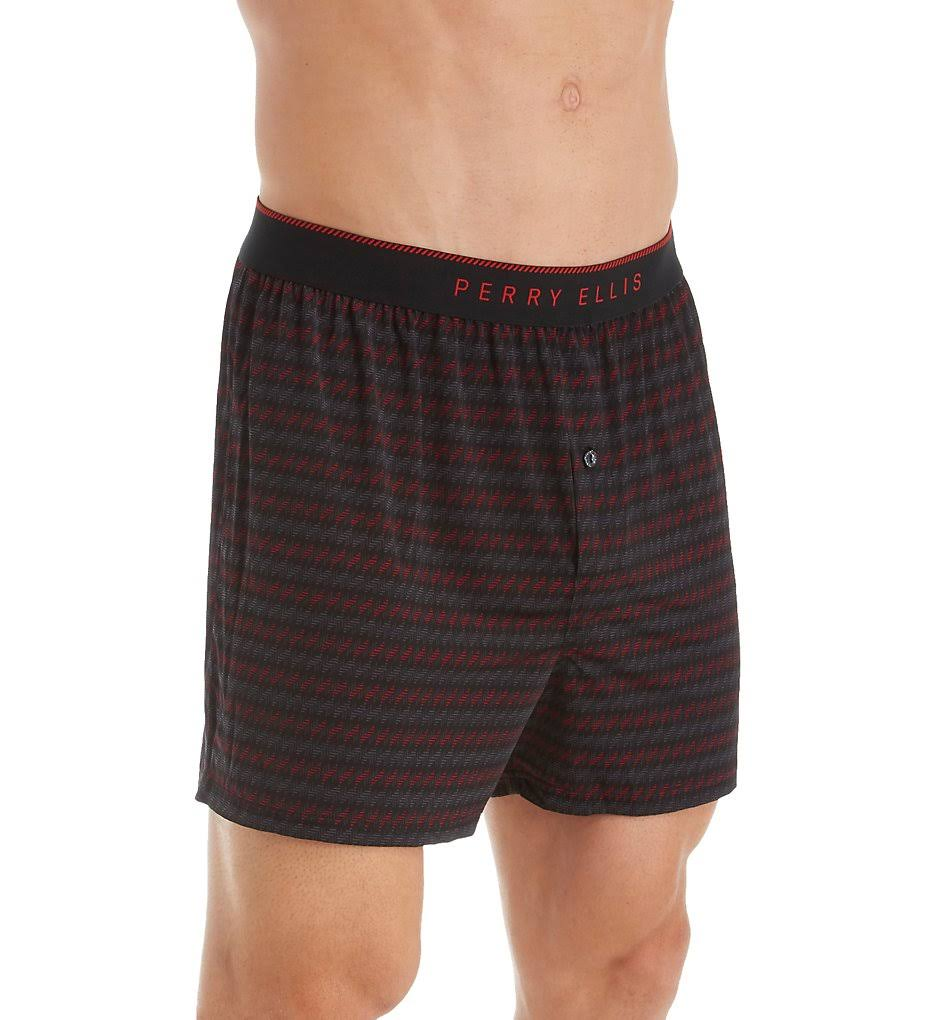 Perry Ellis 163058 Luxe Herringbone Print Boxer Short black/intensity