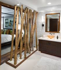 Natural Bamboo Room Divider In An Eclectic Open Plan Bedroom And En Suite