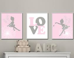 Fairy Wall Art Baby Girls Nursery Suits Pink And Gray Decor