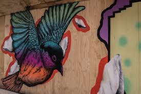 Blue Purple And Orange Bird Painted On Brown Wooden Panel Free