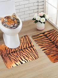 flanell tiger muster thema wc teppich badezimmer kontur matte rutschfeste matte deckel wc cove 3pcs set