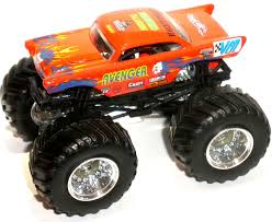 ORANGE AVENGER METAL BASE MONSTER JAM TRUCK HOT WHEELS 1 64 1957 CHEVY