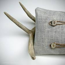 Deer Antler PILLOW COVER OOAK Buttons Cream Burlap Twine Masculine Spring Home Decor Cabin By JillianReneDecor