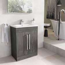 Nante 600mm Floor Standing Vanity Dark Elm With Ceramic Basin