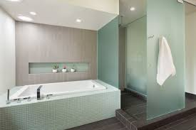 frosted glass tile bathroom modern with accent tile gray
