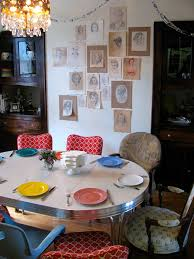 Home Inspired Eclectic Dining Table With Portrait Art Wall SoEclectic