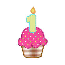 600x600 First Birthday Cupcake With Candle APPLIQUE Machine Embroidery