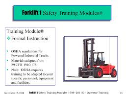 Forklift 1 Safety Training Modules® - Ppt Download Forklift Top 6 Common Osha Compliance Pitfalls For Powered Sample Generic Checklist Industrial Trucks Youtube Gensafetysvicespoweredindustrialtruck The Safety Drumbeat Ignored As Often Its Heard University Operator Traing Osha Forklift Fact Sheet Elegant Etool Associated Regulations Required Power Truck Features Continue To Evolve Ehs Pit Pp T