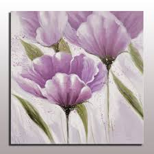 Beautiful Modern Simple Abstract Purple Flower Oil Painting Wall Hanging Art For Living Room Decor Handmade