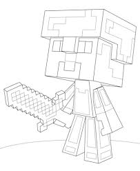 Minecraft Steve Coloring Page Diamond Armor