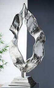 gilde dekoobjekt skulptur flamme silberfarben 1 stück höhe 56 cm aus metall wohnzimmer kaufen otto