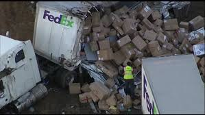 100 Fedex Truck Accident FedEx Truck Spills Packages After Overturning On NJ Highway