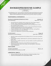 Bookkeeper Resume Sample Guide