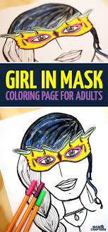 Grab This Girl In Mask Coloring Page For Adults Free Colouring PagesFree Printable