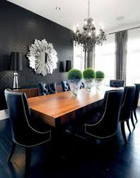 Black Dining Room With Dark Chandelier