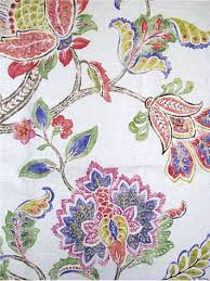 Jacobean Floral Curtain Fabric by Garden Retreat Tumbleweed P Kaufmann Fabric Colorful