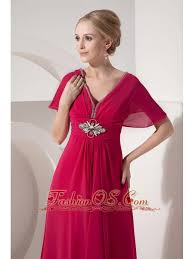 Customize Hot Pink Mother Of The Bride Dress Empire V Neck Chiffon Beading Floor