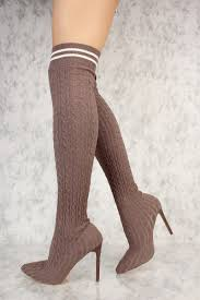 grey ribbed knit pointy toe thigh high sock boots