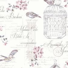 Birds And Typography Shabby Chic Wallpaper Plum White