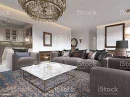 moderne luxus wohnzimmer mit einem sofa sessel einen couchtisch und einem esstisch mit einer küche interieur stockfoto und mehr bilder architektur