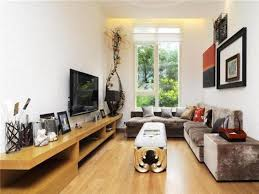 Small Decorating For Long Narrow Living Room Style With Minimalist Furniture Wooden Wall Unit And