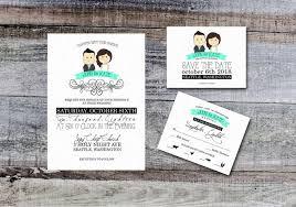 Portrait Wedding Invitation Teal Printable Invites Rustic Cute Fun Anime Cartoon Style Kawaii