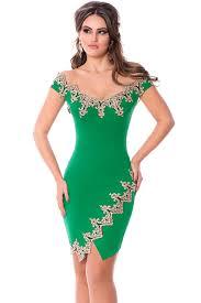 cheap gold lace applique green off shoulder mini dress wholesale