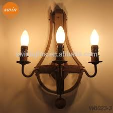 New Design American Style Wood Wall Sconce 3 Lights Antique Rustic Iron Lamp In