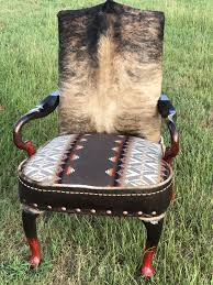 It's A High Back Chair Covered With A Beautiful Fawn Brindle Hide, A ...