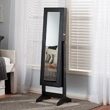Baxton Studio Alena Black Finishing Wood Free Standing Cheval ... Fniture Amazing Black Standing Mirror Jewelry Armoire Top Options Reviews World Box Friday Target Kohls Faedaworkscom Awesome Mirrored To Canada Steveb Interior How To The 45 Inch Wall Mounted Lighted And Its A Full Sale Neauiccom Wood Dresser Fabulous Lacquer Wardrobe