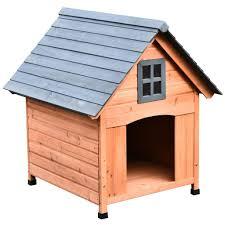 pawhut hundehütte im kabinenstil hundehaus tannenholz natur 81 3 x 91 5 x 98 5 cm