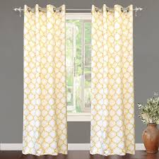 Amazon Yellow Kitchen Curtains by Amazon Com Driftaway Geometric Trellis Room Darkening Thermal